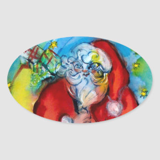 SANTA CLAUS  WITH LANTERN IN THE CHRISTMAS NIGHT OVAL STICKER