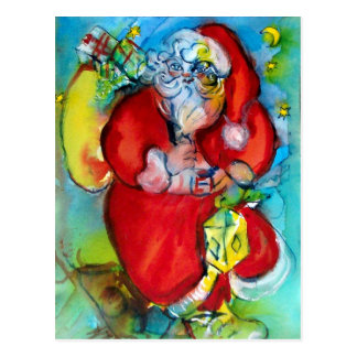 SANTA CLAUS  WITH LANTERN IN THE CHRISTMAS NIGHT POSTCARD
