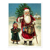 Santa Claus with little girl, Merry Christmas Postcard