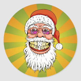santa claus with merry christmas smile classic round sticker