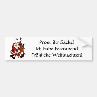 Santa Claus with moose Car Bumper Sticker