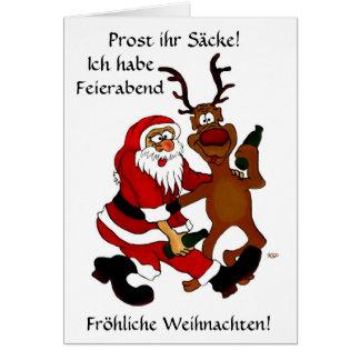 Santa Claus with moose Card