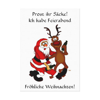 Santa Claus with moose - Prost it bags! Canvas Print