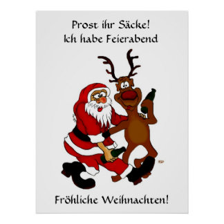 Santa Claus with moose - Prost it bags! Poster