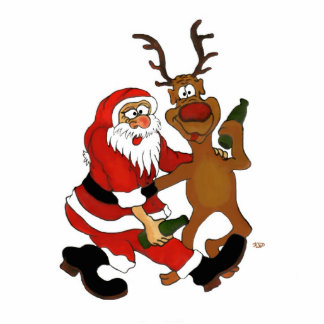 Santa Claus with moose Statuette