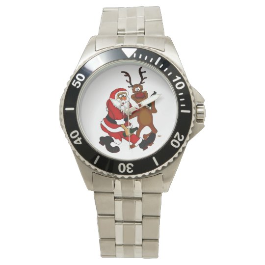 Santa Claus with moose Wrist Watch