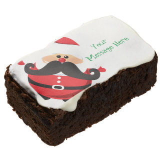 Santa Claus with Mustache Chocolate Brownie