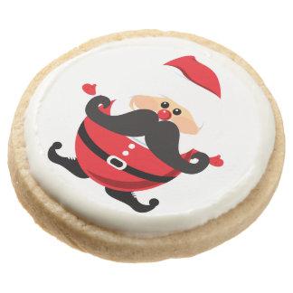Santa Claus with Mustache Round Shortbread Cookie