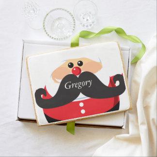 Santa Claus with Mustache Shortbread Cookie