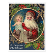 Santa Claus with new baby born, religious vintage Postcard