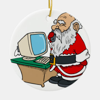 santa claus with phone and computer christmas ornaments