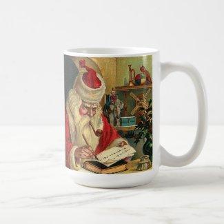 Santa Claus with Pipe Vintage Print Coffee Mug
