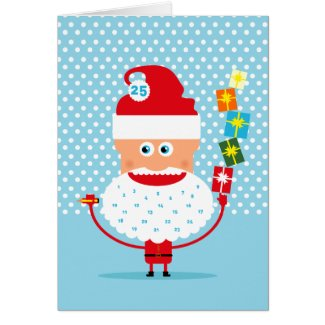 Santa Claus with presents  and advent calendar Card