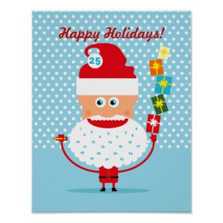 Santa Claus with presents and advent calendar Poster