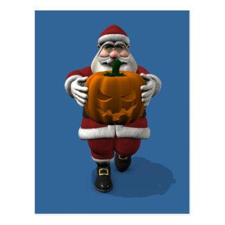 Santa Claus With Pumpkin Postcard
