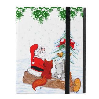 Santa Claus with Rabbit Fox and Squirrel iPad Case