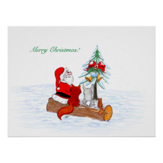 Santa Claus with Rabbit Fox and Squirrel Poster
