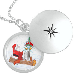 Santa Claus with Rabbit Fox and Squirrel Sterling Silver Necklace