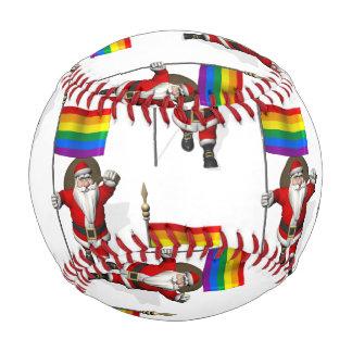 Santa Claus With Rainbow Flag Baseball