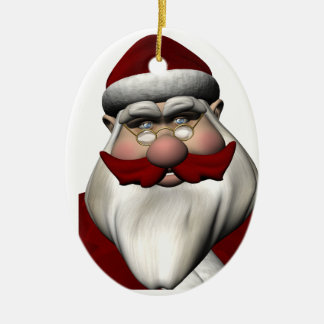 Santa Claus With Red Mustache Christmas Tree Ornament