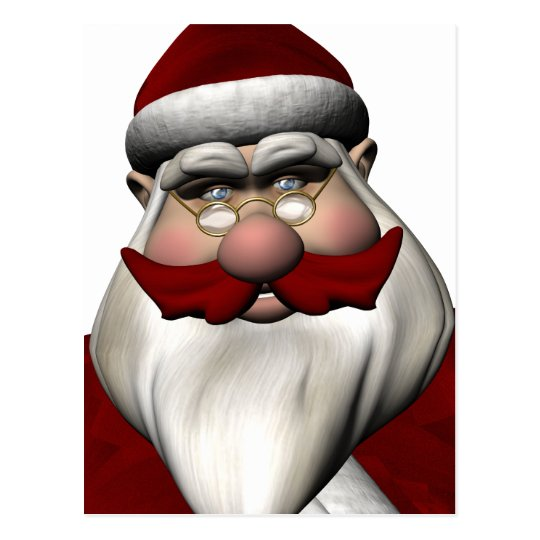 Santa Claus With Red Mustache Postcard
