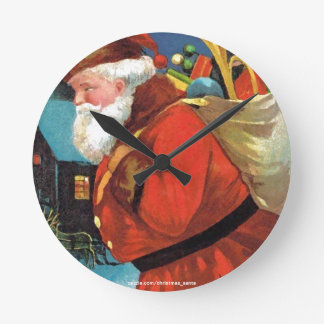 SANTA CLAUS WITH SACK FULL OF GIFTS ROUND CLOCKS