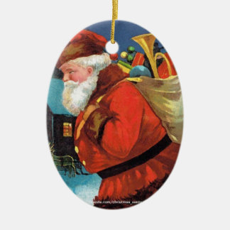 SANTA CLAUS WITH SACK FULL OF GIFTS Double-Sided OVAL CERAMIC CHRISTMAS ORNAMENT
