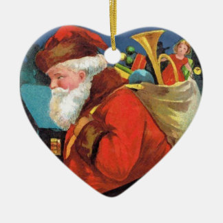 SANTA CLAUS WITH SACK FULL OF GIFTS Double-Sided HEART CERAMIC CHRISTMAS ORNAMENT