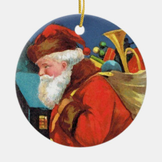 SANTA CLAUS WITH SACK FULL OF GIFTS Double-Sided CERAMIC ROUND CHRISTMAS ORNAMENT
