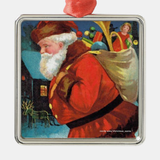 SANTA CLAUS WITH SACK FULL OF GIFTS SQUARE METAL CHRISTMAS ORNAMENT