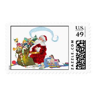 Santa Claus With Sack Of Toys Postage