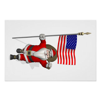 Santa Claus With Star Spangled Banner Poster