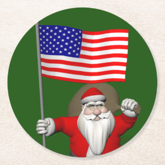 Santa Claus With Star Spangled Banner Round Paper Coaster