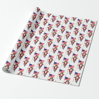Santa Claus With Star Spangled Banner Wrapping Paper