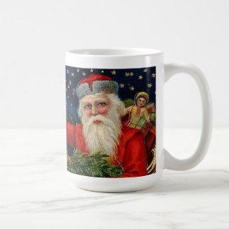 Santa Claus with Stars Vintage Print Coffee Mug