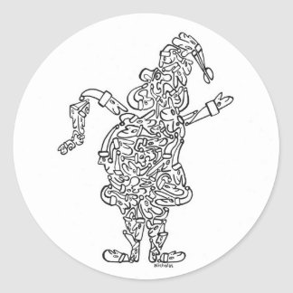 SANTA CLAUS with STOCKING Classic Round Sticker