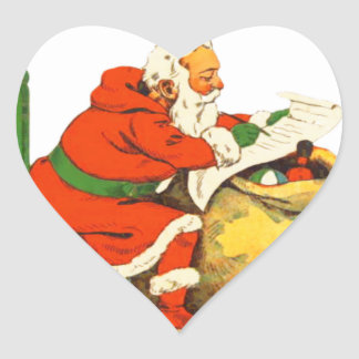 SANTA CLAUS WITH THE LIST HEART STICKER