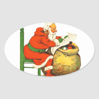 SANTA CLAUS WITH THE LIST OVAL STICKER