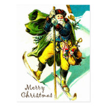 Santa Claus with toys on ski, vintage holiday Postcard