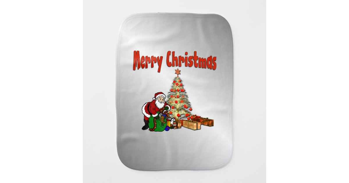 Toys Under Christmas Tree : Santa claus with toys under christmas tree burp cloth zazzle
