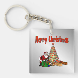 Santa Claus with Toys Under Christmas Tree Keychain