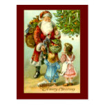 Santa Claus with Two Little Girls Vintage Art Card Postcard