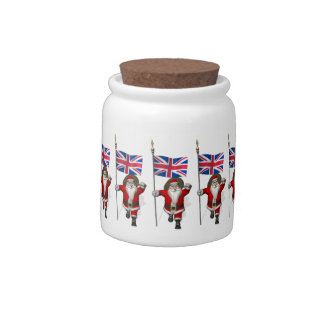 Santa Claus With Union Flag Of The UK Candy Dish