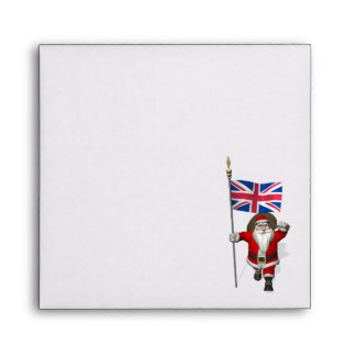 Santa Claus With Union Flag Of The UK Envelopes