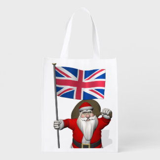 Santa Claus With Union Flag Of The UK Grocery Bag