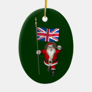 Santa Claus With Union Flag Of The UK Ornaments