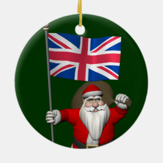 Santa Claus With Union Flag Of The UK Christmas Tree Ornament