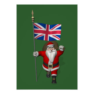 Santa Claus With Union Flag Of The UK Poster