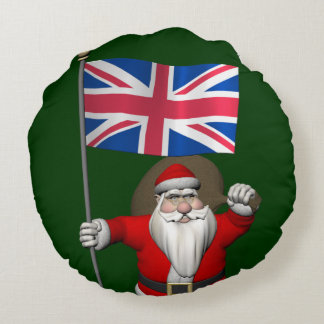 Santa Claus With Union Flag Of The UK Round Pillow