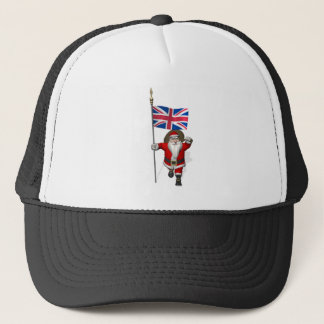 Santa Claus With Union Flag Of The UK Trucker Hat